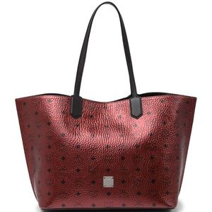 Red MCM Medium Leather Tote Bag